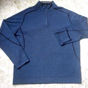 SMARTWOOL Quarter Zip Blue Merino Wool Pullover